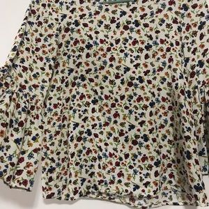 ZARA Floral Bell Sleeve Shirt Trafulac XS blue red